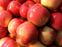 Markets - red apples. Red apples on a market stall stock photo