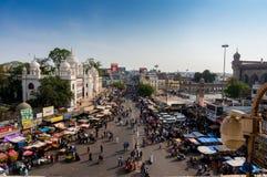 Markets surrounding the Charminar hyderabad. Hyderabad, Telangana, India, 28th Feb 2016: Famous Laad market surrounding the Charminar in the old city area of Royalty Free Stock Images