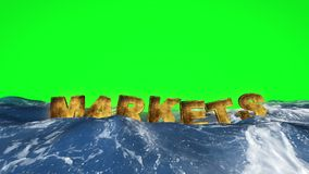 Markets text floating in the water against green screen stock illustration