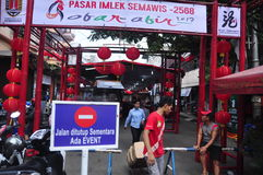 Markets welcomed the Chinese New Year in Semarang Stock Images