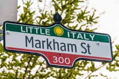 Markham Street Sign in Little Italy, Toronto Stock Image