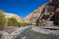 Markharivier bij beroemde Markha-Trek, Markha-Vallei, Ladakh, India Royalty-vrije Stock Foto's