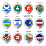 Markier od papieru z flaga dla mapy - ustawia dziesiąty Zdjęcia Stock