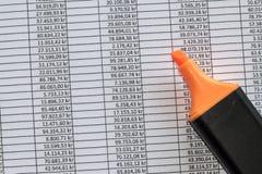 Markier przoduje spreadsheet pokazuje księgowość dane fotografia stock