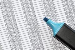 Markier przoduje spreadsheet pokazuje księgowość dane w USA dolarach obrazy stock