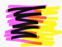 Markier wykłada w żółtych purpurach i czerni zdjęcia stock