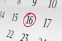 Markieren Sie das Datum Nr. 16 Lizenzfreies Stockbild