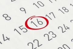 Markieren Sie das Datum Nr. 16 Lizenzfreie Stockfotografie