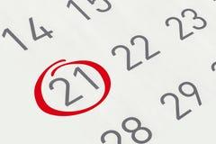 Markieren Sie das Datum Nr. 21 Lizenzfreies Stockfoto