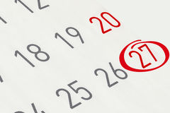 Markieren Sie das Datum Nr. 27 Lizenzfreies Stockbild