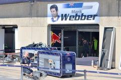 Markieren Sie Webbers Gruben-Garage in Montreal F1 lizenzfreie stockbilder