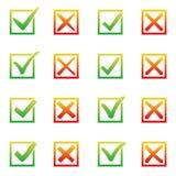Markieren Sie X und V im Auswahlkästchen Sonnige Steigungsfarbgrünhaken, rote Kreuze Ja keine Ikonen im Rahmen für Website oder Lizenzfreie Stockbilder