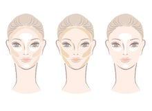 Markierendes und umreißendes Bereichsdiagramm für Gesicht Stockbilder