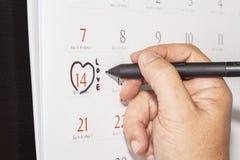 Markiert auf einem Kalenderkonzept stockfotografie