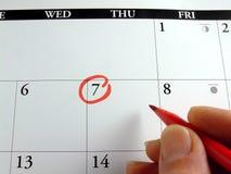 Markierung des Kalenders Stockbilder