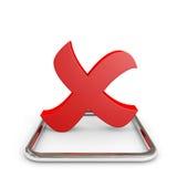 Markierung des roten Kreuzes 3D im Chrom Checkbox. vektor abbildung