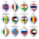 Markierung vom Papier mit Flagge für Karte - stellen Sie Sixth ein Lizenzfreie Stockfotos