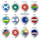 Markierung vom Papier mit Flagge für Karte - stellen Sie zehntes ein Stockfotos