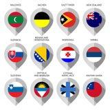 Markierung vom Papier mit Flagge für Karte - stellen Sie zwölftes ein Lizenzfreie Stockbilder