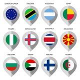 Markierung vom Papier mit Flagge für Karte - stellen Sie an zweiter Stelle ein Stockfoto