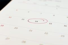 Markierung von Nr. 14 auf Kalender Lizenzfreies Stockfoto