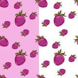 Markierungs-Handgezogene lokalisierte nahtlose Mustererdbeere auf wei?er und rosa Hintergrundfahne Skizzierter Nahrungsmittelvekt stockfotos