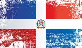 Markierungsfahne der Dominikanischen Republik Geknitterte schmutzige Stellen lizenzfreie abbildung