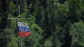Markierungsfahne der Russischen Föderation Fokus auf dem Objektiv stock video footage