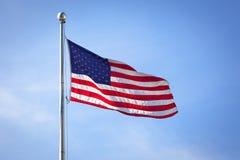 Markierungsfahne der USA (Amerika) auf Wall Street Stockfoto