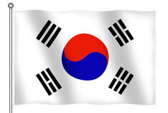 Markierungsfahne des Südkorea-Wellenartig bewegens Lizenzfreie Stockbilder