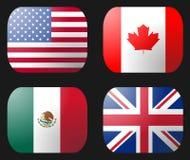 Markierungsfahne Großbritannien-USA Mexiko Kanada Lizenzfreies Stockfoto