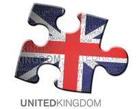 Markierungsfahne Großbritanniens innerhalb eines Stückes des Puzzlespiels Stockfoto