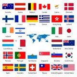 Markierungsfahne mit 32 Industrieländern Lizenzfreie Stockfotografie