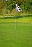 Markierungsfahne und das Golffeld Stockfotos