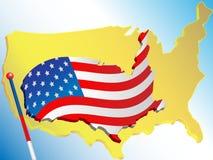 Markierungsfahne und Karte USA Lizenzfreie Stockbilder