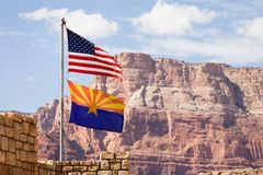 Markierungsfahne USA und New-Mexiko Lizenzfreies Stockbild