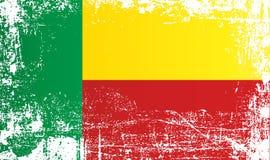 Markierungsfahne von Benin West-Afrika, geknitterte schmutzige Stellen stock abbildung