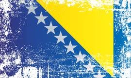 Markierungsfahne von Bosnien-Herzegowina Geknitterte schmutzige Stellen lizenzfreie abbildung