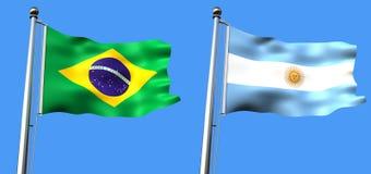 Markierungsfahne von Brasilien und von Argentinien Lizenzfreie Stockbilder