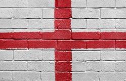 Markierungsfahne von England auf einer Backsteinmauer Stockfoto