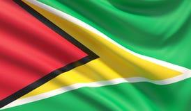 Markierungsfahne von Guyana Wellenartig bewegte in hohem Grade ausführliche Gewebebeschaffenheit Abbildung 3D stock abbildung