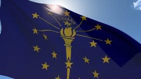Markierungsfahne von Indiana wellenartig bewegend in den Wind stock video