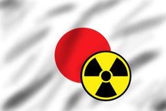 Markierungsfahne von Japan mit Strahlungszeichen Stockfotografie