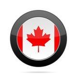Markierungsfahne von Kanada Glänzender schwarzer runder Knopf Stockfoto