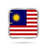 Markierungsfahne von Malaysia Metallischer grauer quadratischer Knopf Lizenzfreies Stockbild