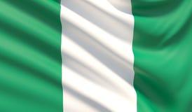 Markierungsfahne von Nigeria Wellenartig bewegte in hohem Grade ausführliche Gewebebeschaffenheit Abbildung 3D vektor abbildung