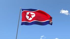 Markierungsfahne von Nordkorea stock footage