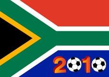 Markierungsfahne von Südafrika mit 2010 Stockfotografie
