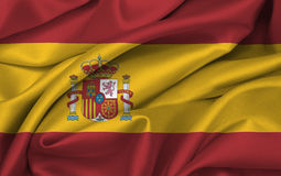 Markierungsfahne von Spanien wellenartig bewegend - spanische Markierungsfahne Lizenzfreie Stockfotos