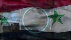 Markierungsfahne von Syrien damaskus Technologie-Interaktion Digital-Hintergrundkonzept Digital-Hintergrundkonzept stock video